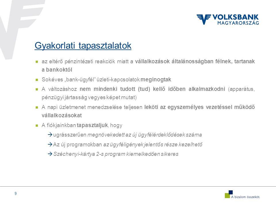"""10 A Volksbank és a Fiókok feladata ebben a gazdasági környezetben Kreatív üzleti megoldások (""""muníció ) biztosítása (megtörtént) Nyitottság a párbeszédre, a kkv igényeknek legkorszerűbb, ún."""