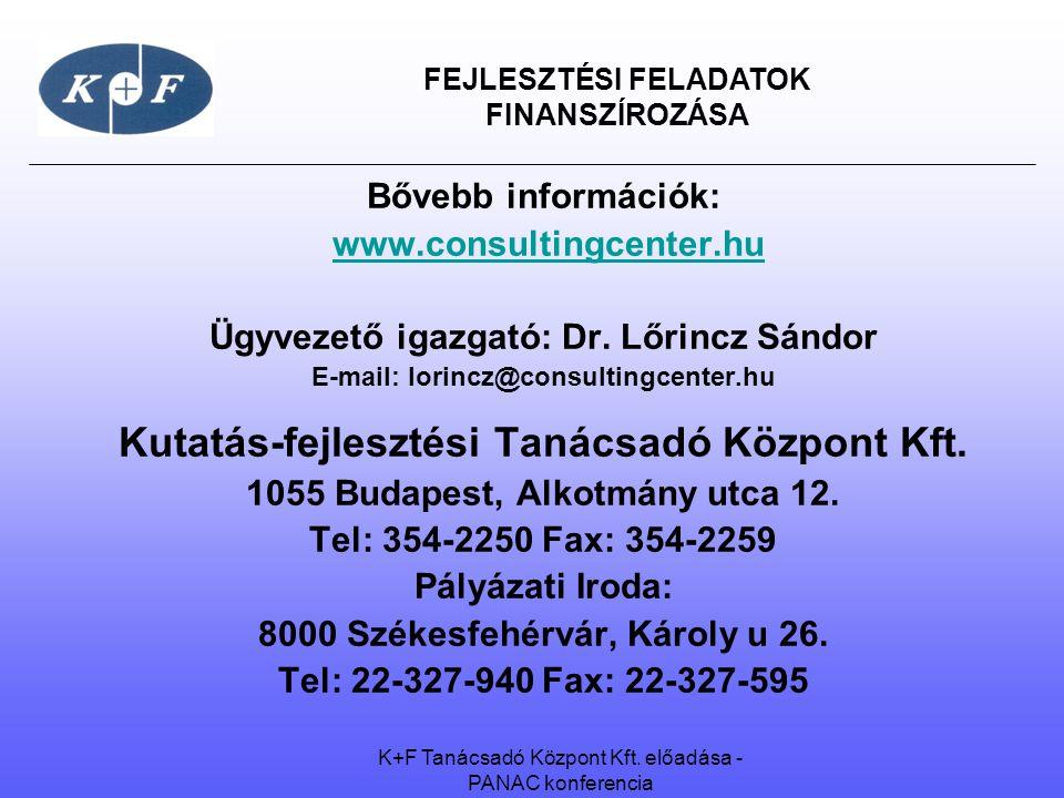 FEJLESZTÉSI FELADATOK FINANSZÍROZÁSA Bővebb információk: www.consultingcenter.hu Ügyvezető igazgató: Dr.