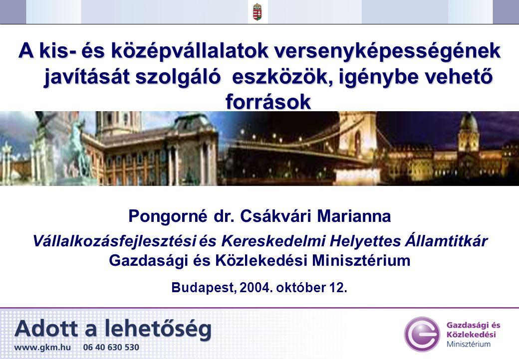 1.Magyarország versenyképessége 2.Kis- és középvállalkozások szerepe a gazdaságban 3.Versenyképesség-javító és beruházásösztönző intézkedések 4.Az EU-csatlakozás várható hatásai Az előadás szerkezete