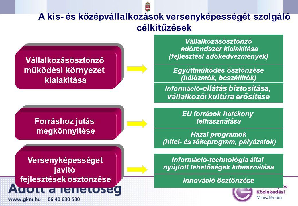 A kis- és középvállalkozások versenyképességét szolgáló célkitűzések Forráshoz jutás megkönnyítése Forráshoz jutás megkönnyítése Versenyképességet javító fejlesztések ösztönzése Versenyképességet javító fejlesztések ösztönzése Vállalkozásösztönző működési környezet kialakítása Vállalkozásösztönző működési környezet kialakítása Vállalkozásösztönző adórendszer kialakítása (fejlesztési adókedvezmények) Együttműködés ösztönzése (hálózatók, beszállítók) Információ -ellátás biztosítása, vállalkozói kultúra erősítése EU források hatékony felhasználása Hazai programok (hitel- és tőkeprogram, pályázatok) Információ-technológia által nyújtott lehetőségek kihasználása Innováció ösztönzése