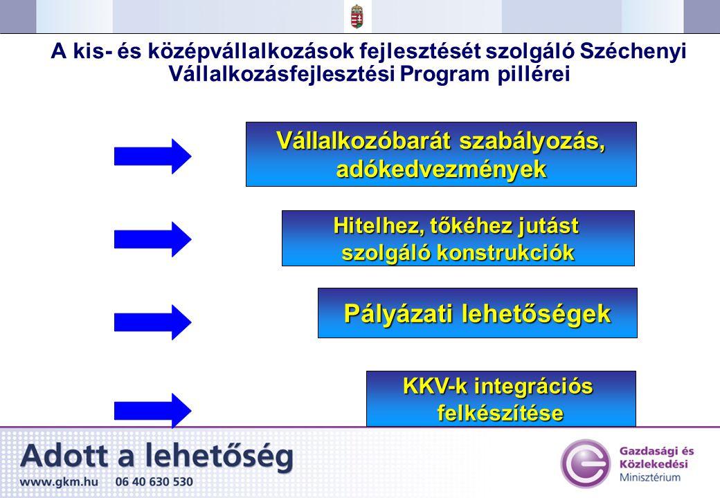 A kis- és középvállalkozások fejlesztését szolgáló Széchenyi Vállalkozásfejlesztési Program pillérei Vállalkozóbarát szabályozás, adókedvezmények Pályázati lehetőségek KKV-k integrációs felkészítése Hitelhez, tőkéhez jutást szolgáló konstrukciók