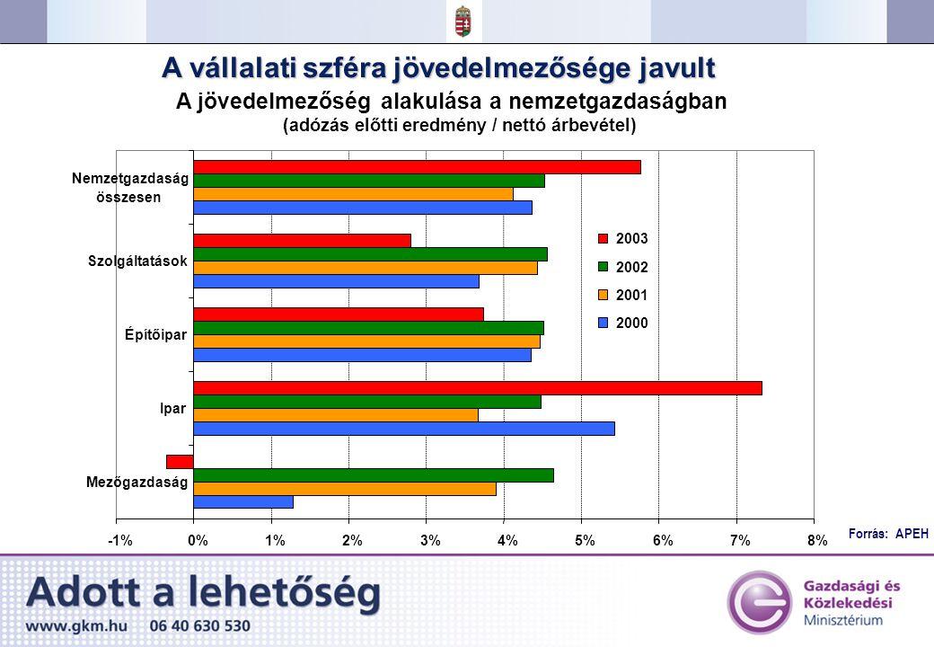 Forrás: APEH A vállalati szféra jövedelmezősége javult A jövedelmezőség alakulása a nemzetgazdaságban (adózás előtti eredmény / nettó árbevétel) -1%0%1%2%3%4%5%6%7%8% Mezőgazdaság Ipar Építőipar Szolgáltatások Nemzetgazdaság összesen 2003 2002 2001 2000