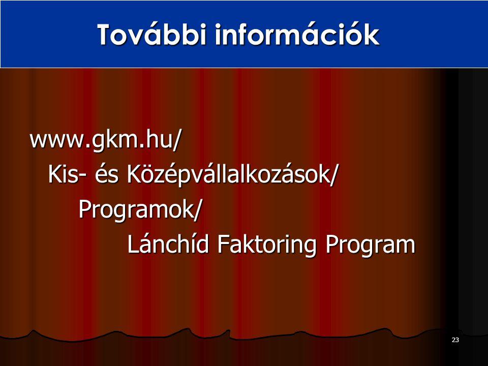 23 További információk www.gkm.hu/ Kis- és Középvállalkozások/ Programok/ Lánchíd Faktoring Program