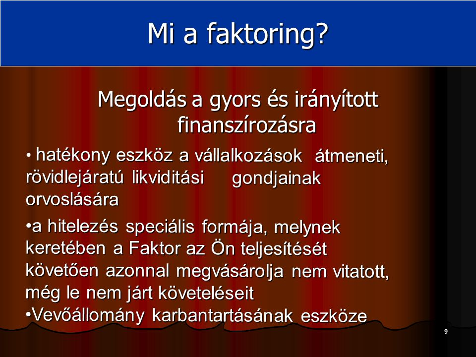 10 A Faktoring célpiaca Mikro Kis Közepes Nagy ErősNormálSzint alatti Nem hitelképes Bankok Bankok és/vagy faktorok faktor A Gazdasági mutatók minősége A társaság mérete