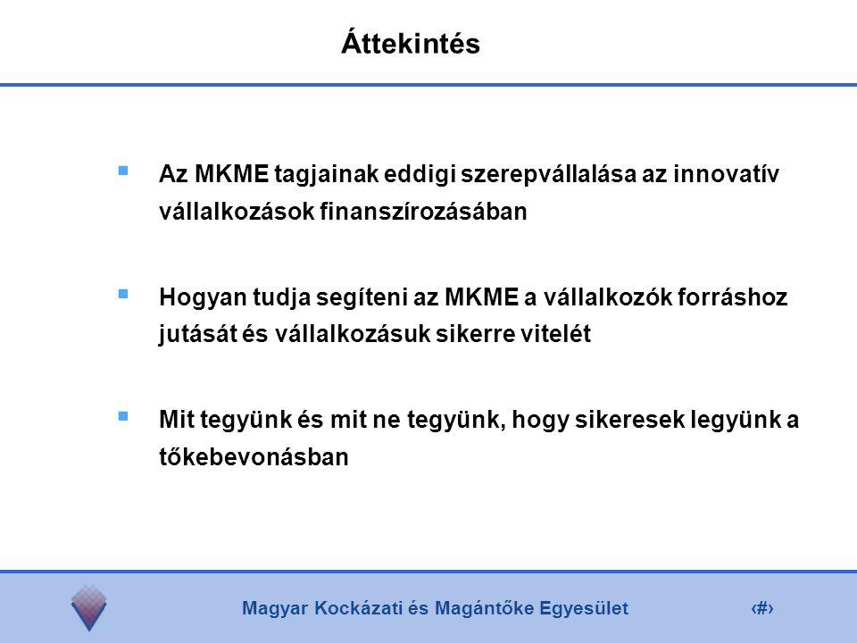 Magyar Kockázati és Magántőke Egyesület2 Áttekintés  Az MKME tagjainak eddigi szerepvállalása az innovatív vállalkozások finanszírozásában  Hogyan tudja segíteni az MKME a vállalkozók forráshoz jutását és vállalkozásuk sikerre vitelét  Mit tegyünk és mit ne tegyünk, hogy sikeresek legyünk a tőkebevonásban