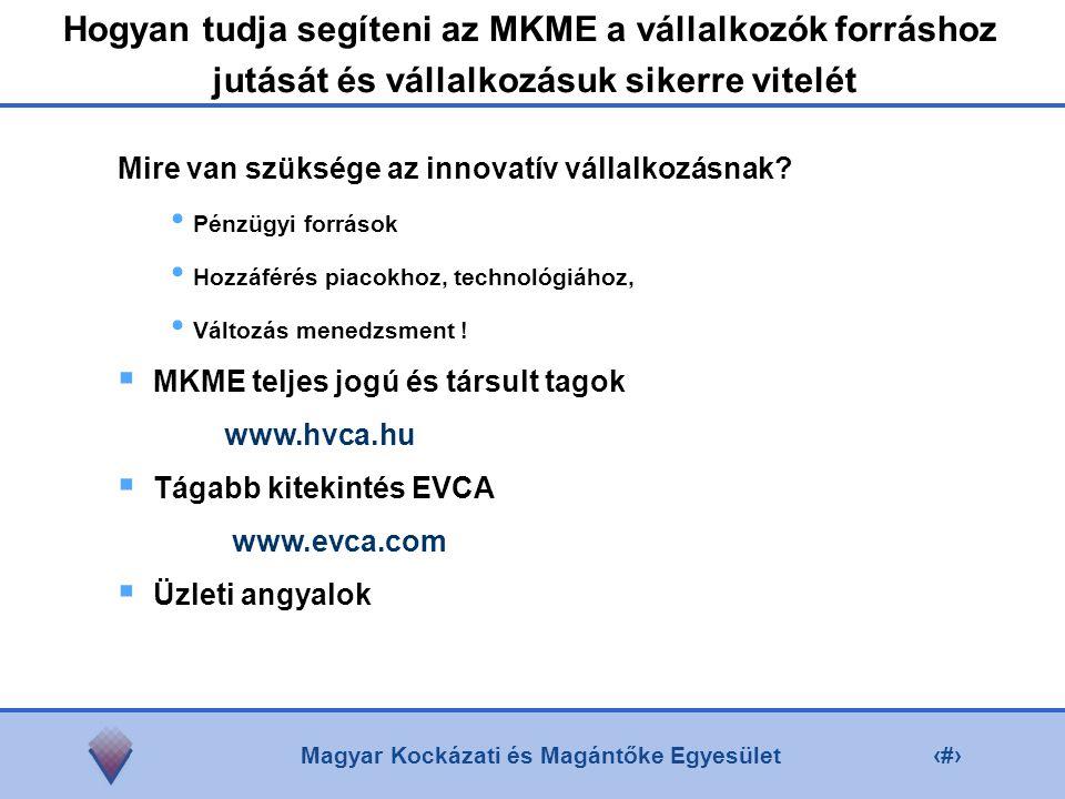 Magyar Kockázati és Magántőke Egyesület6 Mire van szüksége az innovatív vállalkozásnak.