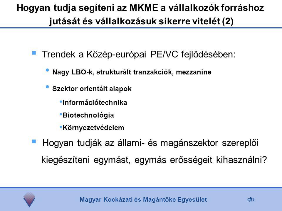 Magyar Kockázati és Magántőke Egyesület7  Trendek a Közép-európai PE/VC fejlődésében: Nagy LBO-k, strukturált tranzakciók, mezzanine Szektor orientált alapok Információtechnika Biotechnológia Környezetvédelem  Hogyan tudják az állami- és magánszektor szereplői kiegészíteni egymást, egymás erősségeit kihasználni.