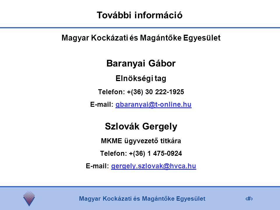 Magyar Kockázati és Magántőke Egyesület9 Baranyai Gábor Elnökségi tag Telefon: +(36) 30 222-1925 E-mail: gbaranyai@t-online.hu Szlovák Gergely MKME ügyvezető titkára Telefon: +(36) 1 475-0924 E-mail: gergely.szlovak@hvca.hu További információ