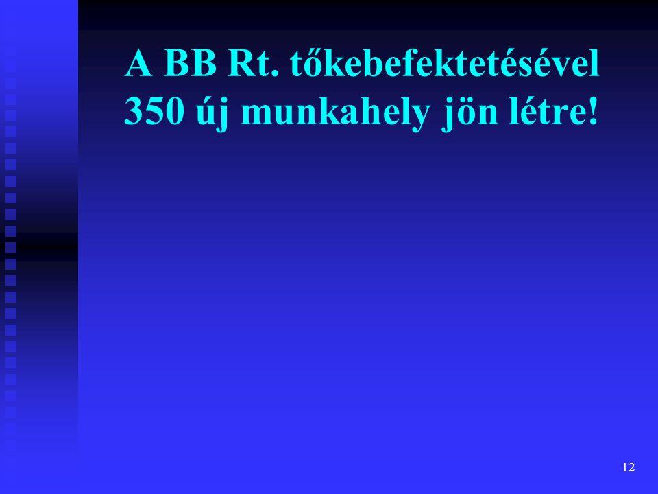 12 A BB Rt. tőkebefektetésével 350 új munkahely jön létre!