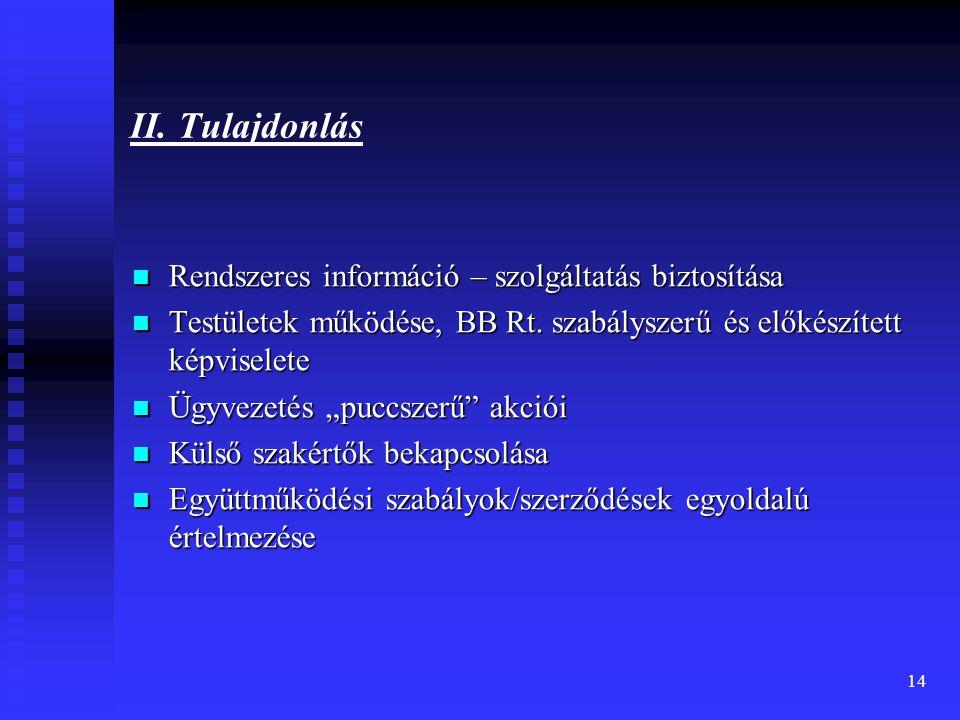 14 II. Tulajdonlás Rendszeres információ – szolgáltatás biztosítása Rendszeres információ – szolgáltatás biztosítása Testületek működése, BB Rt. szabá