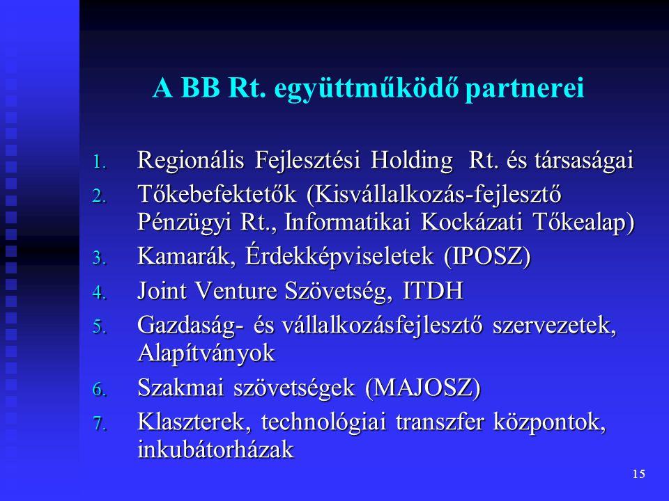 15 A BB Rt. együttműködő partnerei 1. Regionális Fejlesztési Holding Rt. és társaságai 2. Tőkebefektetők (Kisvállalkozás-fejlesztő Pénzügyi Rt., Infor