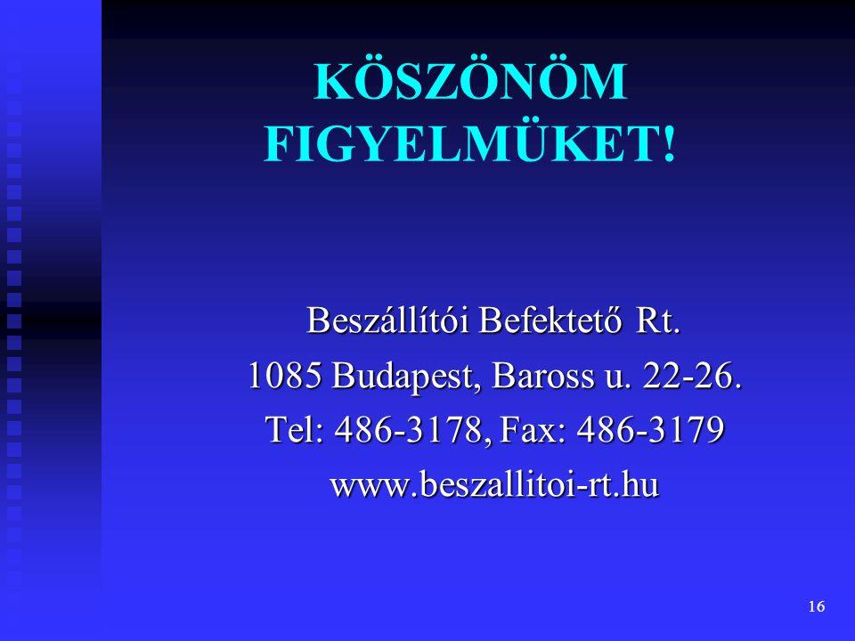 16 KÖSZÖNÖM FIGYELMÜKET! Beszállítói Befektető Rt. 1085 Budapest, Baross u. 22-26. Tel: 486-3178, Fax: 486-3179 www.beszallitoi-rt.hu