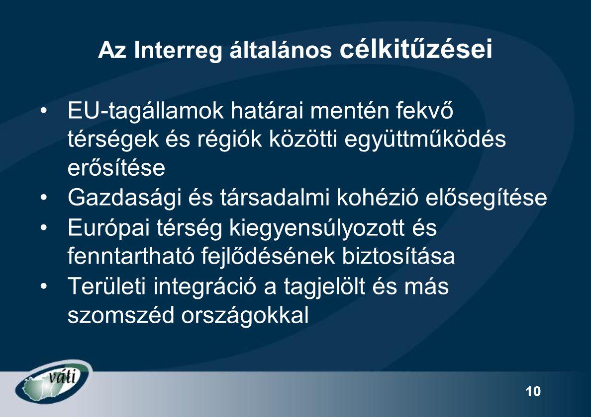 10 Az Interreg általános célkitűzései EU-tagállamok határai mentén fekvő térségek és régiók közötti együttműködés erősítése Gazdasági és társadalmi ko