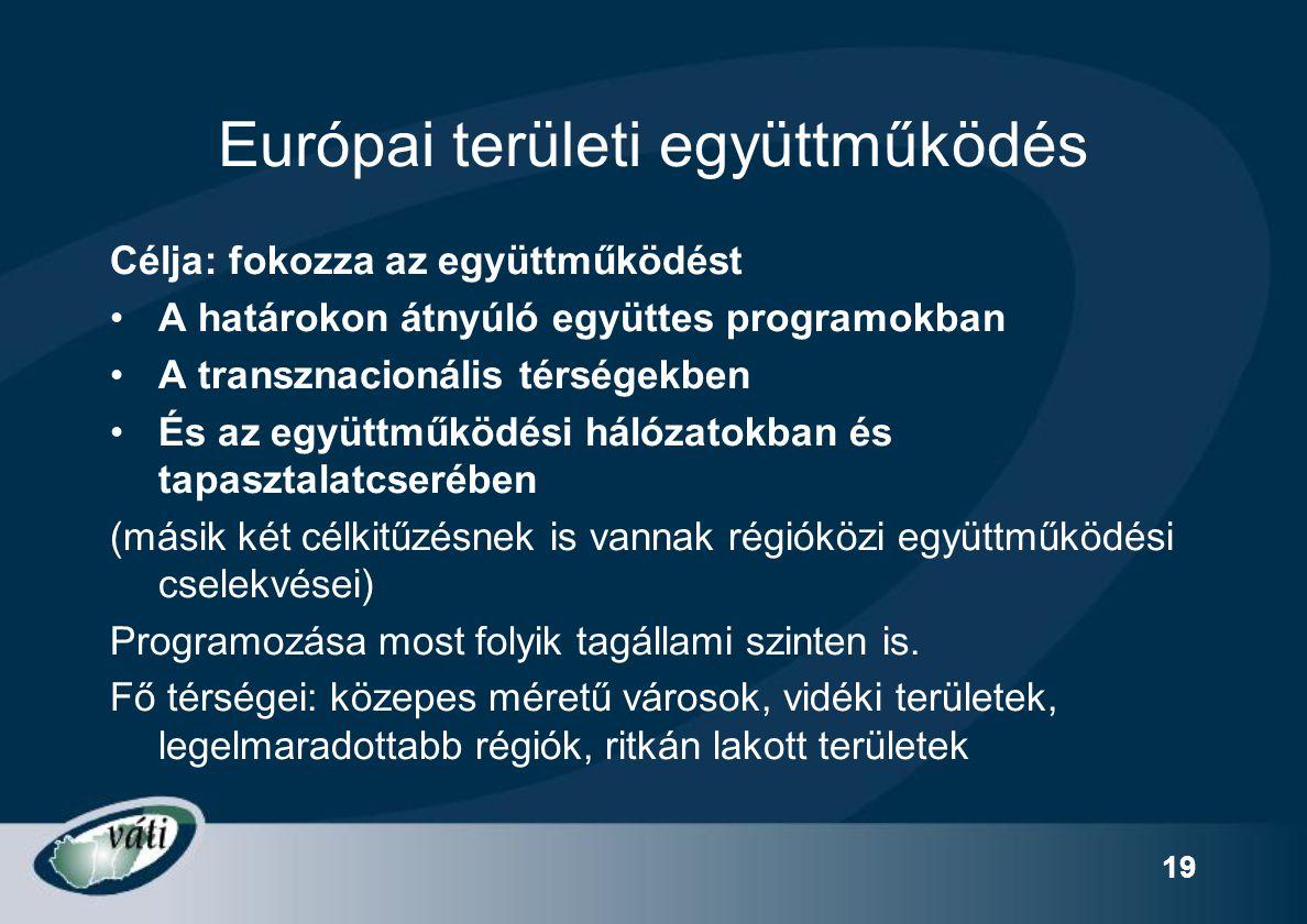 19 Európai területi együttműködés Célja: fokozza az együttműködést A határokon átnyúló együttes programokban A transznacionális térségekben És az együ