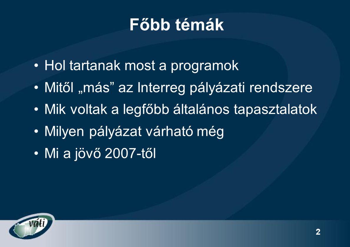 3 Interreg Magyarország pillérei Interreg IIIAHatár menti együttműködés 67% Interreg IIIBTransznacionális együttműködés 27% Interreg IIICRégiók közötti együttműködés 6% Határokon átnyúló, nemzetek közötti és interregionális együttműködés és tervezés támogatása