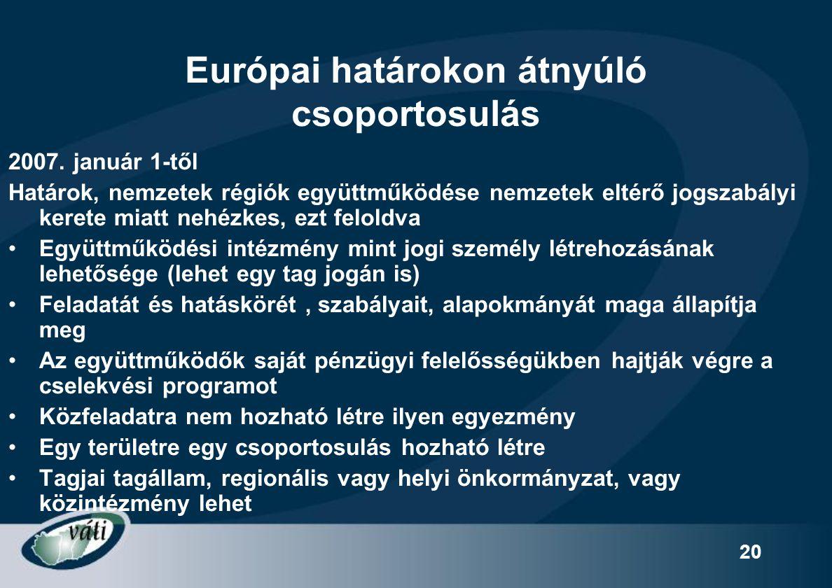 20 Európai határokon átnyúló csoportosulás 2007. január 1-től Határok, nemzetek régiók együttműködése nemzetek eltérő jogszabályi kerete miatt nehézke