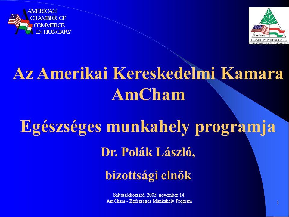 Sajtótájékoztató, 2005. november 14. AmCham - Egészséges Munkahely Program 1 Az Amerikai Kereskedelmi Kamara AmCham Egészséges munkahely programja Dr.