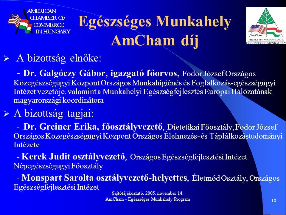 Sajtótájékoztató, 2005. november 14. AmCham - Egészséges Munkahely Program 10 Egészséges Munkahely AmCham díj  A bizottság elnöke: - Dr. Galgóczy Gáb