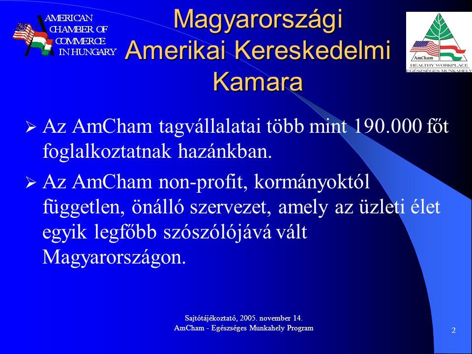 Sajtótájékoztató, 2005. november 14. AmCham - Egészséges Munkahely Program 2 Magyarországi Amerikai Kereskedelmi Kamara  Az AmCham tagvállalatai több
