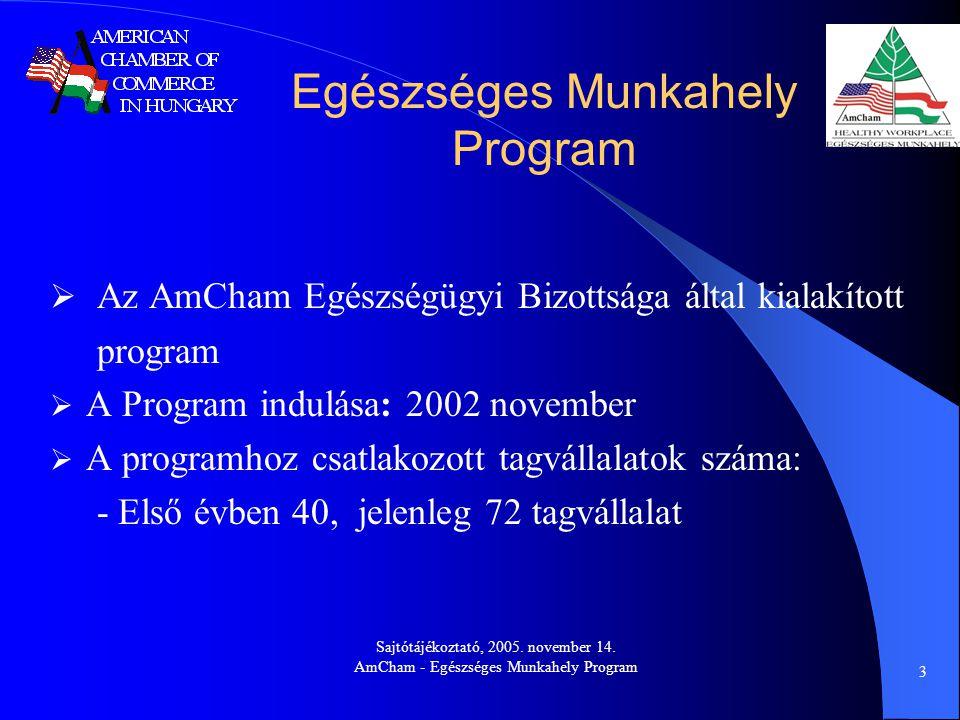 Sajtótájékoztató, 2005. november 14. AmCham - Egészséges Munkahely Program 3  Az AmCham Egészségügyi Bizottsága által kialakított program  A Program