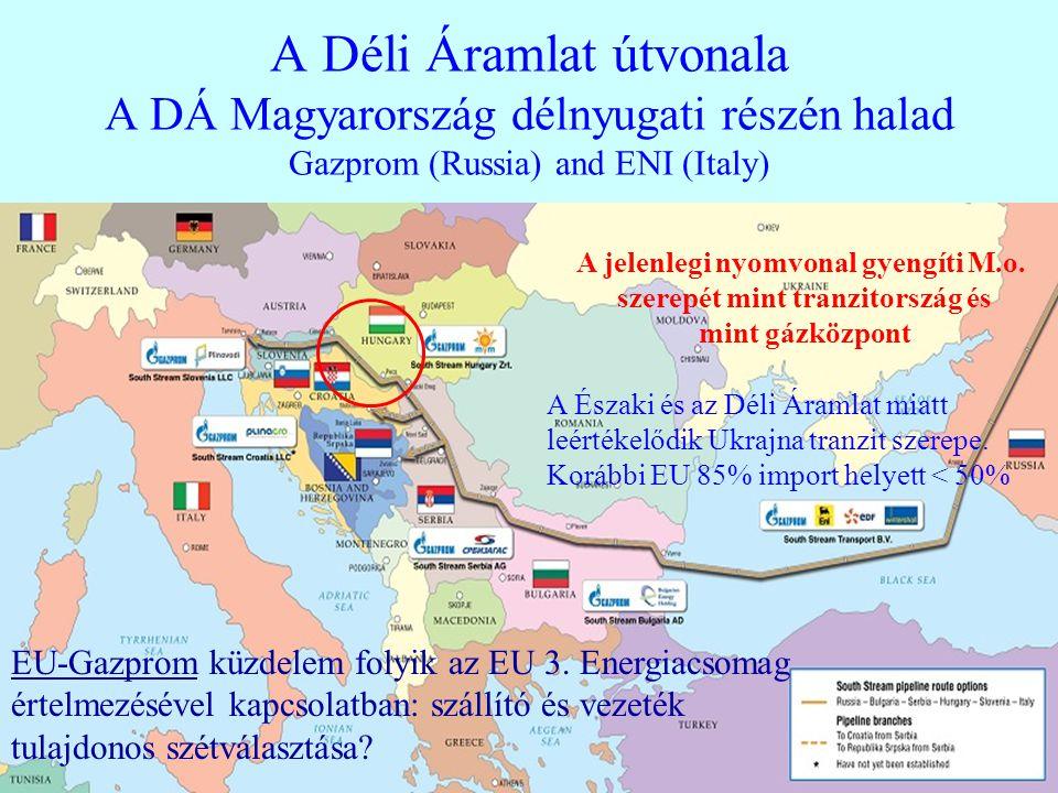 22 A Déli Áramlat útvonala A DÁ Magyarország délnyugati részén halad Gazprom (Russia) and ENI (Italy) A jelenlegi nyomvonal gyengíti M.o. szerepét min