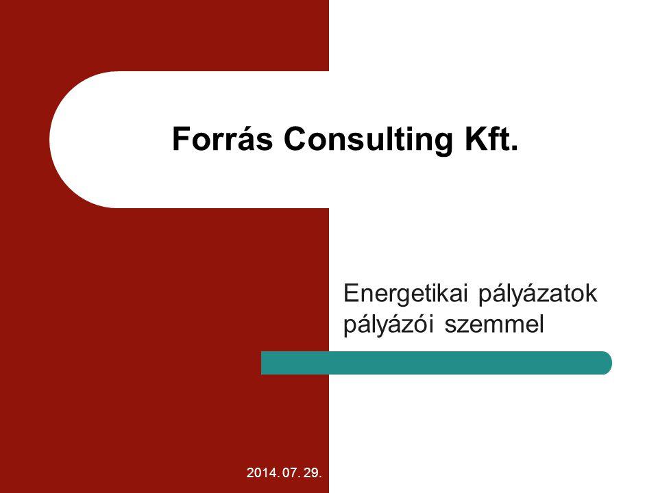 2014. 07. 29. Forrás Consulting Kft. Energetikai pályázatok pályázói szemmel