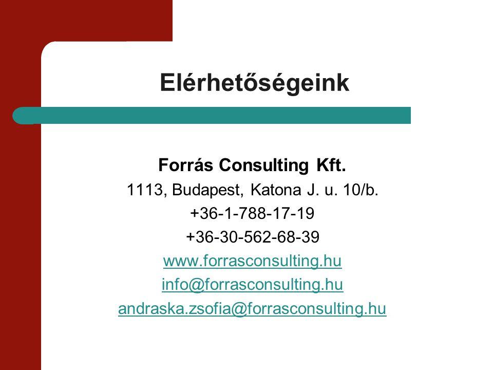 Elérhetőségeink Forrás Consulting Kft. 1113, Budapest, Katona J. u. 10/b. +36-1-788-17-19 +36-30-562-68-39 www.forrasconsulting.hu info@forrasconsulti