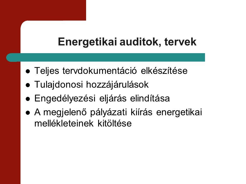 Energetikai auditok, tervek Teljes tervdokumentáció elkészítése Tulajdonosi hozzájárulások Engedélyezési eljárás elindítása A megjelenő pályázati kiír