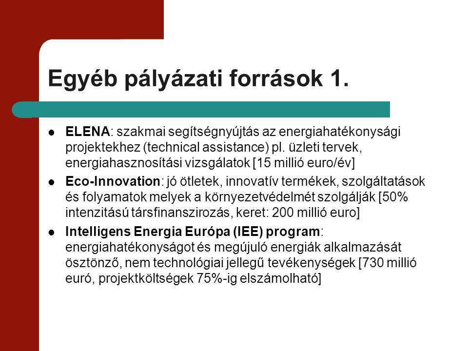 Egyéb pályázati források 1. ELENA: szakmai segítségnyújtás az energiahatékonysági projektekhez (technical assistance) pl. üzleti tervek, energiahaszno