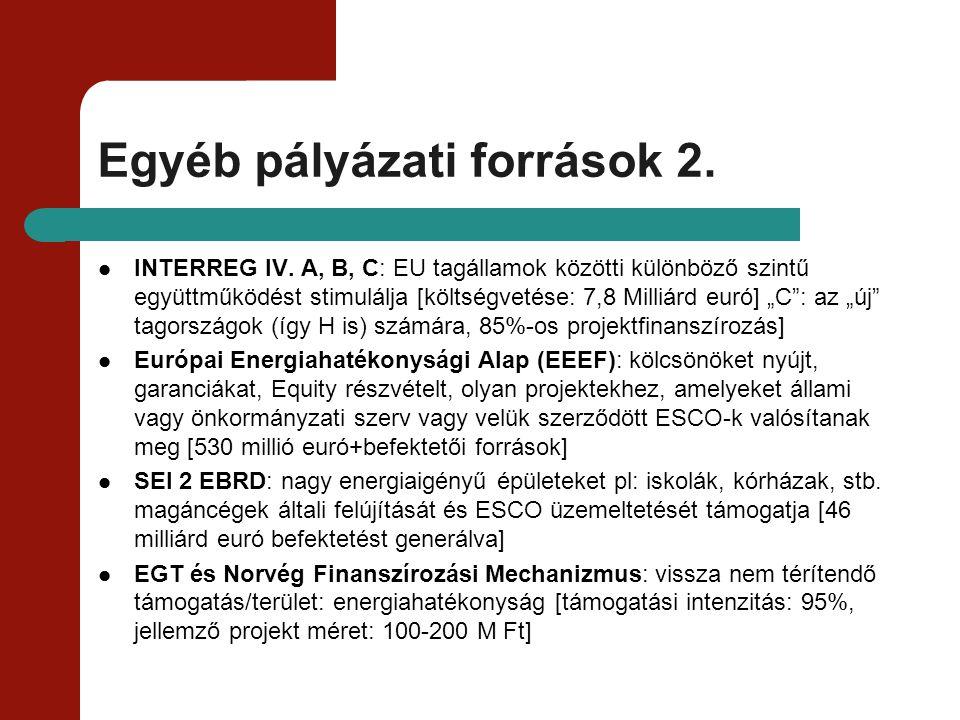 Egyéb pályázati források 2. INTERREG IV. A, B, C: EU tagállamok közötti különböző szintű együttműködést stimulálja [költségvetése: 7,8 Milliárd euró]