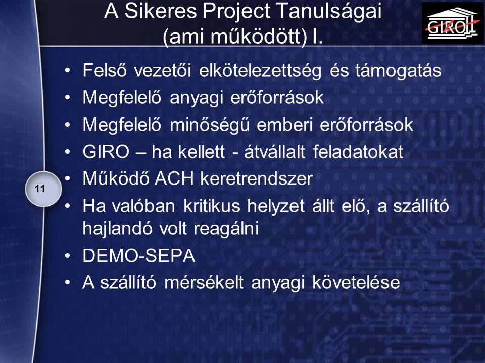 A Sikeres Project Tanulságai (ami működött) I. Felső vezetői elkötelezettség és támogatás Megfelelő anyagi erőforrások Megfelelő minőségű emberi erőfo