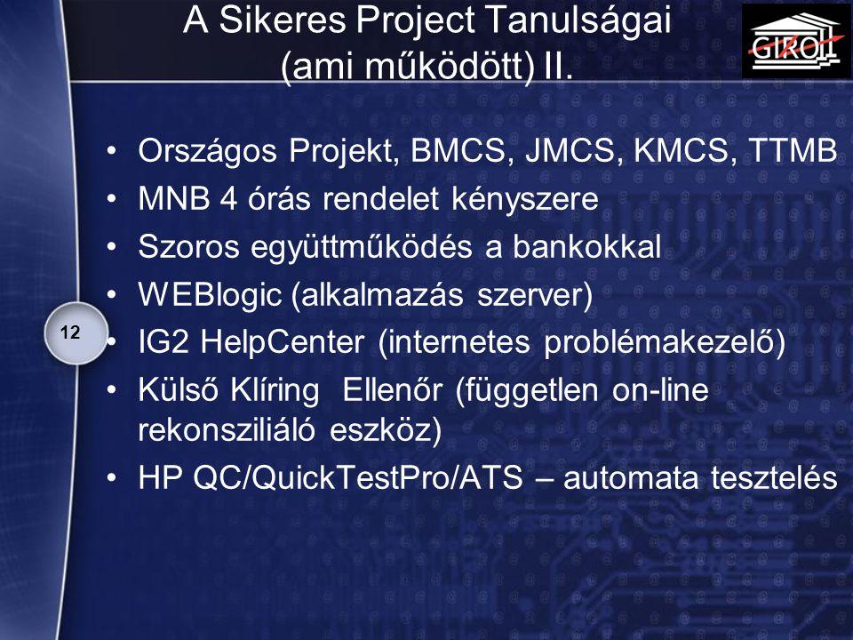 A Sikeres Project Tanulságai (ami működött) II. Országos Projekt, BMCS, JMCS, KMCS, TTMB MNB 4 órás rendelet kényszere Szoros együttműködés a bankokka
