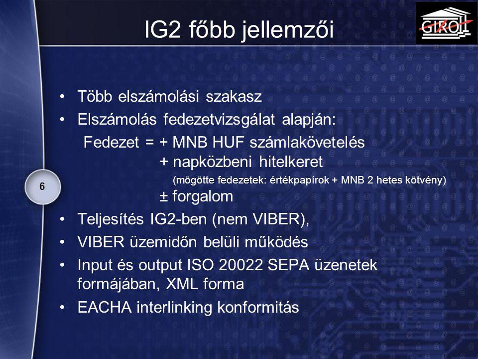 IG2 főbb jellemzői Több elszámolási szakasz Elszámolás fedezetvizsgálat alapján: Fedezet = + MNB HUF számlakövetelés + napközbeni hitelkeret (mögötte
