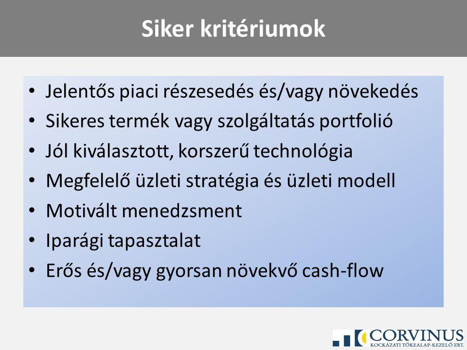 Siker kritériumok Jelentős piaci részesedés és/vagy növekedés Sikeres termék vagy szolgáltatás portfolió Jól kiválasztott, korszerű technológia Megfel
