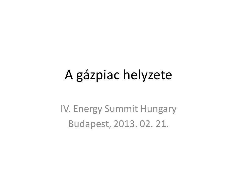 A gázpiac helyzete IV. Energy Summit Hungary Budapest, 2013. 02. 21.