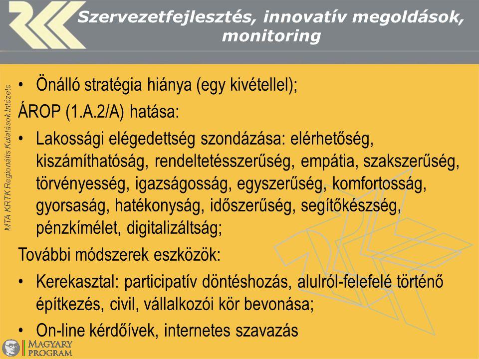 MTA KRTK Regionális Kutatások Intézete Szervezetfejlesztés, innovatív megoldások, monitoring Önálló stratégia hiánya (egy kivétellel); ÁROP (1.A.2/A) hatása: Lakossági elégedettség szondázása: elérhetőség, kiszámíthatóság, rendeltetésszerűség, empátia, szakszerűség, törvényesség, igazságosság, egyszerűség, komfortosság, gyorsaság, hatékonyság, időszerűség, segítőkészség, pénzkímélet, digitalizáltság; További módszerek eszközök: Kerekasztal: participatív döntéshozás, alulról-felefelé történő építkezés, civil, vállalkozói kör bevonása; On-line kérdőívek, internetes szavazás