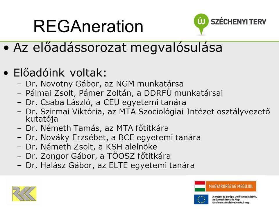 Az előadássorozat megvalósulása Előadóink voltak: –Dr. Novotny Gábor, az NGM munkatársa –Pálmai Zsolt, Pámer Zoltán, a DDRFÜ munkatársai –Dr. Csaba Lá