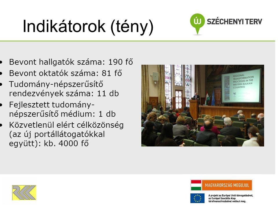 Egyéb mutatók Önálló projektoldal az RKK portálon belül: tamop.rkk.hu Sajtómegjelenés: 23 - ebből 3 TV- szereplés Közreműködő kollégák száma: 4+11 fő Ráfordított idő: több mint 10100 munkaóra