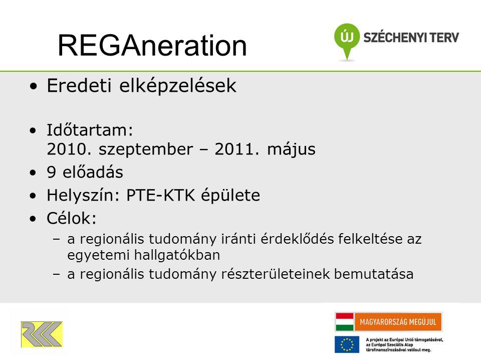 Eredeti elképzelések Időtartam: 2010. szeptember – 2011. május 9 előadás Helyszín: PTE-KTK épülete Célok: –a regionális tudomány iránti érdeklődés fel