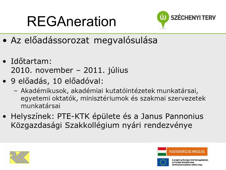 Az előadássorozat megvalósulása Időtartam: 2010. november – 2011. július 9 előadás, 10 előadóval: –Akadémikusok, akadémiai kutatóintézetek munkatársai
