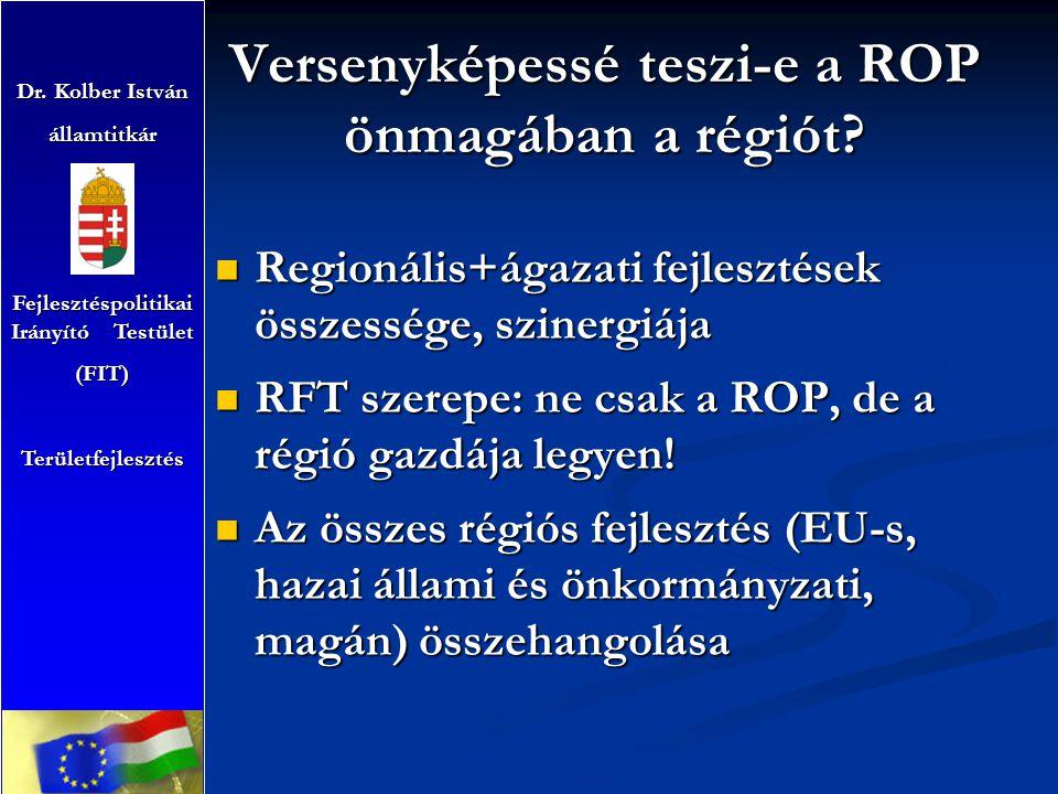 Versenyképessé teszi-e a ROP önmagában a régiót? Regionális+ágazati fejlesztések összessége, szinergiája Regionális+ágazati fejlesztések összessége, s