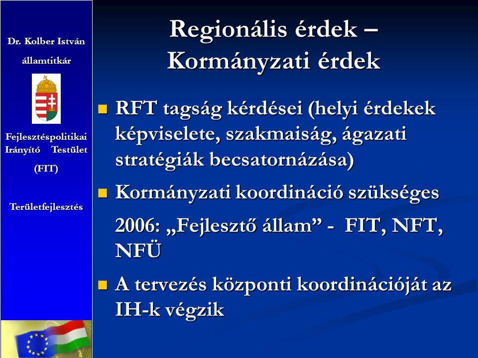 Regionális érdek – Kormányzati érdek RFT tagság kérdései (helyi érdekek képviselete, szakmaiság, ágazati stratégiák becsatornázása) RFT tagság kérdése