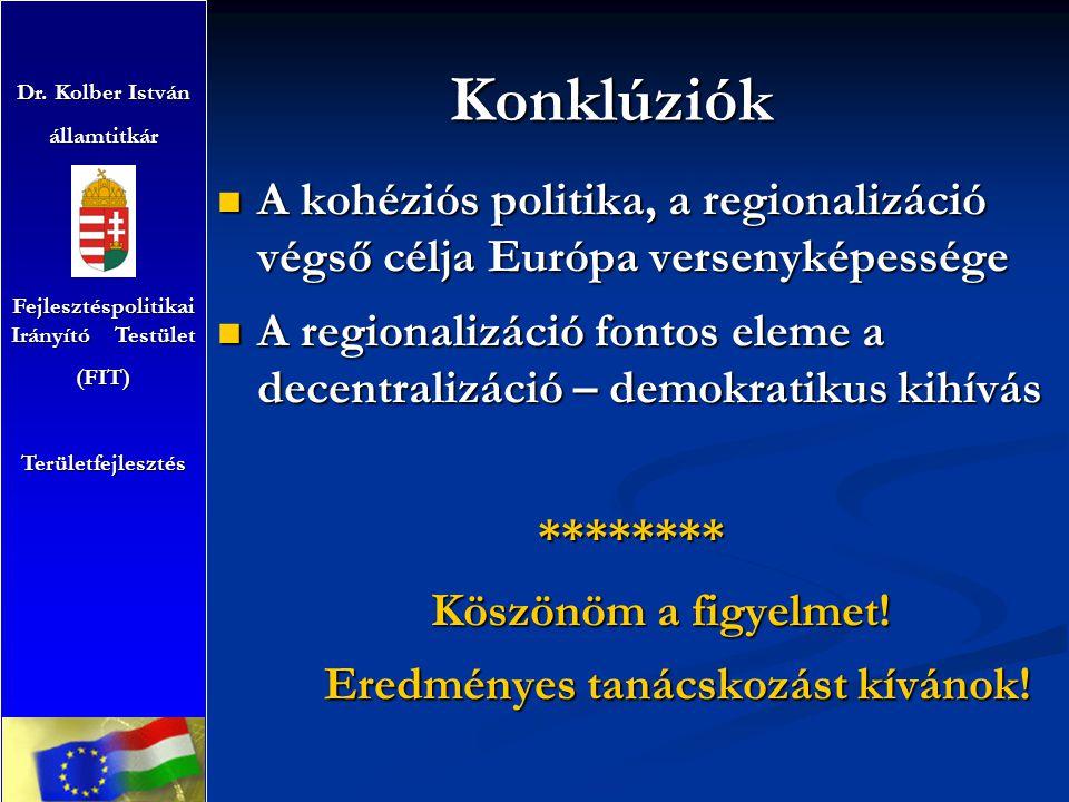 Konklúziók A kohéziós politika, a regionalizáció végső célja Európa versenyképessége A kohéziós politika, a regionalizáció végső célja Európa versenyképessége A regionalizáció fontos eleme a decentralizáció – demokratikus kihívás A regionalizáció fontos eleme a decentralizáció – demokratikus kihívás******** Köszönöm a figyelmet.