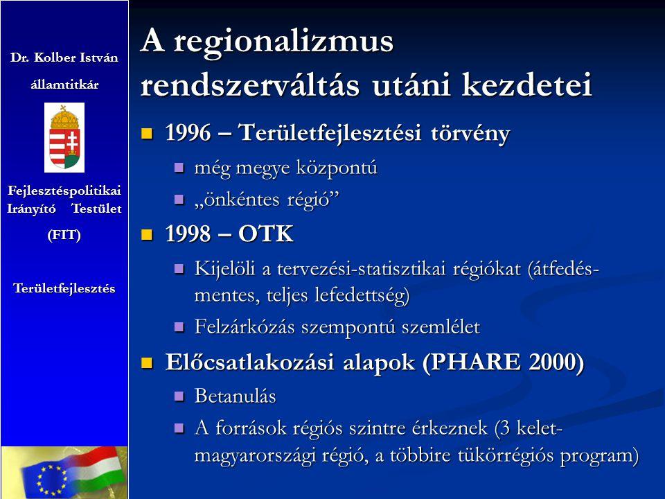 """A regionalizmus rendszerváltás utáni kezdetei 1996 – Területfejlesztési törvény 1996 – Területfejlesztési törvény még megye központú még megye központú """"önkéntes régió """"önkéntes régió 1998 – OTK 1998 – OTK Kijelöli a tervezési-statisztikai régiókat (átfedés- mentes, teljes lefedettség) Kijelöli a tervezési-statisztikai régiókat (átfedés- mentes, teljes lefedettség) Felzárkózás szempontú szemlélet Felzárkózás szempontú szemlélet Előcsatlakozási alapok (PHARE 2000) Előcsatlakozási alapok (PHARE 2000) Betanulás Betanulás A források régiós szintre érkeznek (3 kelet- magyarországi régió, a többire tükörrégiós program) A források régiós szintre érkeznek (3 kelet- magyarországi régió, a többire tükörrégiós program) Dr."""