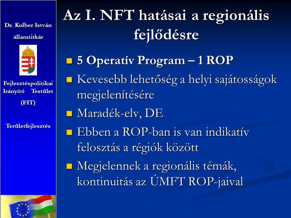 Az I. NFT hatásai a regionális fejlődésre Dr. Kolber István államtitkár Fejlesztéspolitikai Irányító Testület (FIT)Területfejlesztés 5 Operatív Progra