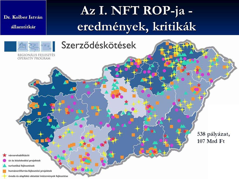 Az I. NFT ROP-ja - eredmények, kritikák Dr. Kolber István államtitkár Fejlesztéspolitikai Irányító Testület (FIT)Területfejlesztés 538 pályázat, 107 M