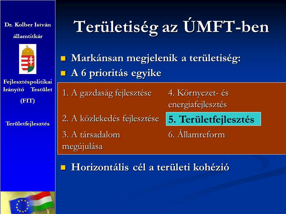 Területiség az ÚMFT-ben Markánsan megjelenik a területiség: Markánsan megjelenik a területiség: A 6 prioritás egyike A 6 prioritás egyike Dr. Kolber I