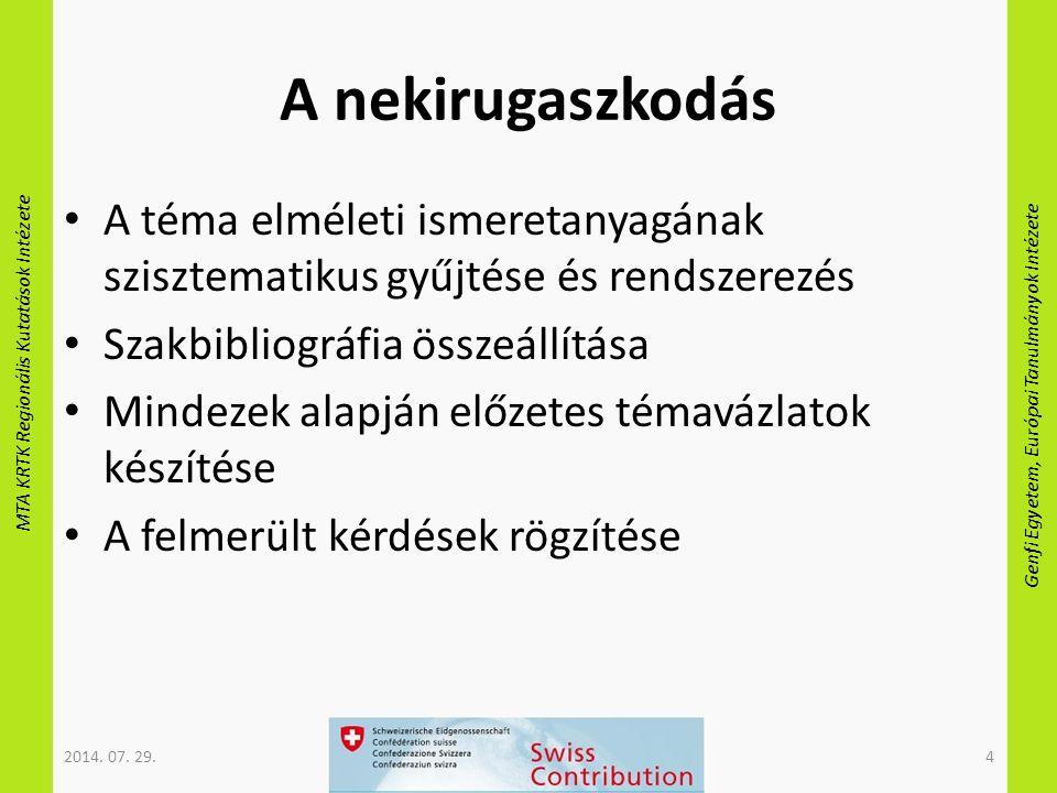 MTA KRTK Regionális Kutatások Intézete Genfi Egyetem, Európai Tanulmányok Intézete A nekirugaszkodás A téma elméleti ismeretanyagának szisztematikus gyűjtése és rendszerezés Szakbibliográfia összeállítása Mindezek alapján előzetes témavázlatok készítése A felmerült kérdések rögzítése 2014.