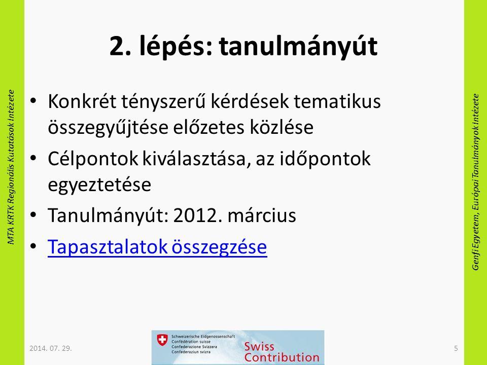 MTA KRTK Regionális Kutatások Intézete Genfi Egyetem, Európai Tanulmányok Intézete 2. lépés: tanulmányút Konkrét tényszerű kérdések tematikus összegyű