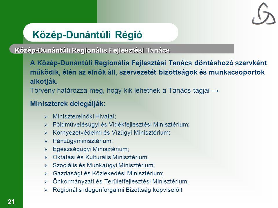 21 Közép-Dunántúli Regionális Fejlesztési Tanács A Közép-Dunántúli Regionális Fejlesztési Tanács döntéshozó szervként működik, élén az elnök áll, szervezetét bizottságok és munkacsoportok alkotják.